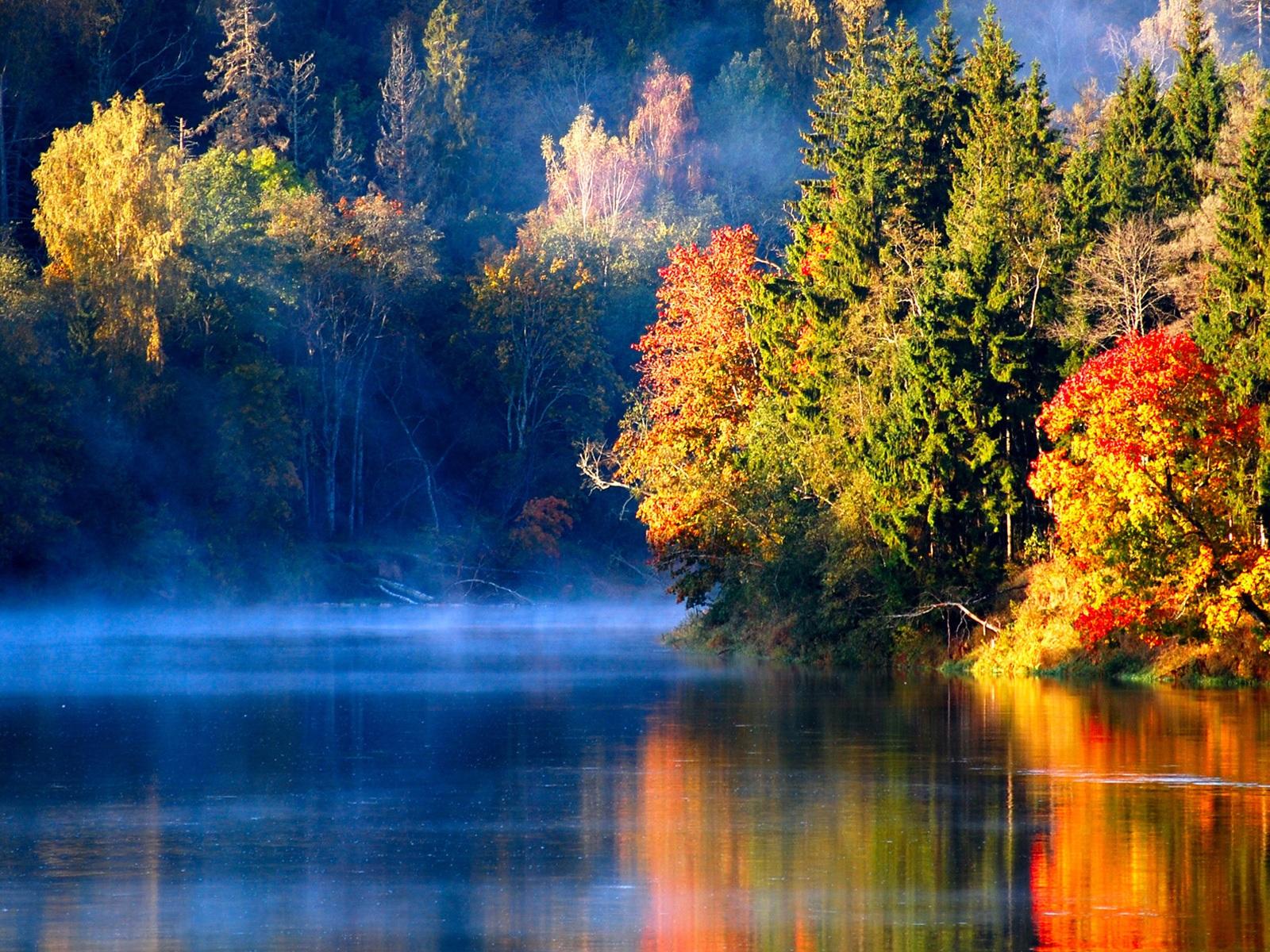foto de Fonds d'écran Letton forêt d'automne rivière brume du matin ...