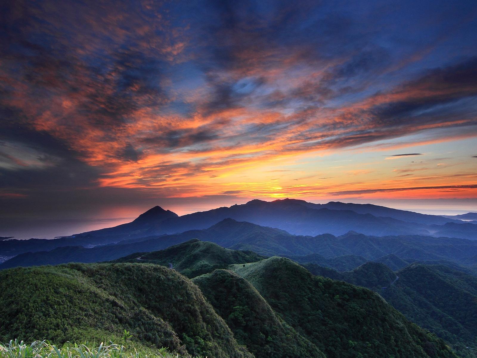 Wallpaper Evening Sunset Sky Clouds Hills Forest Grass