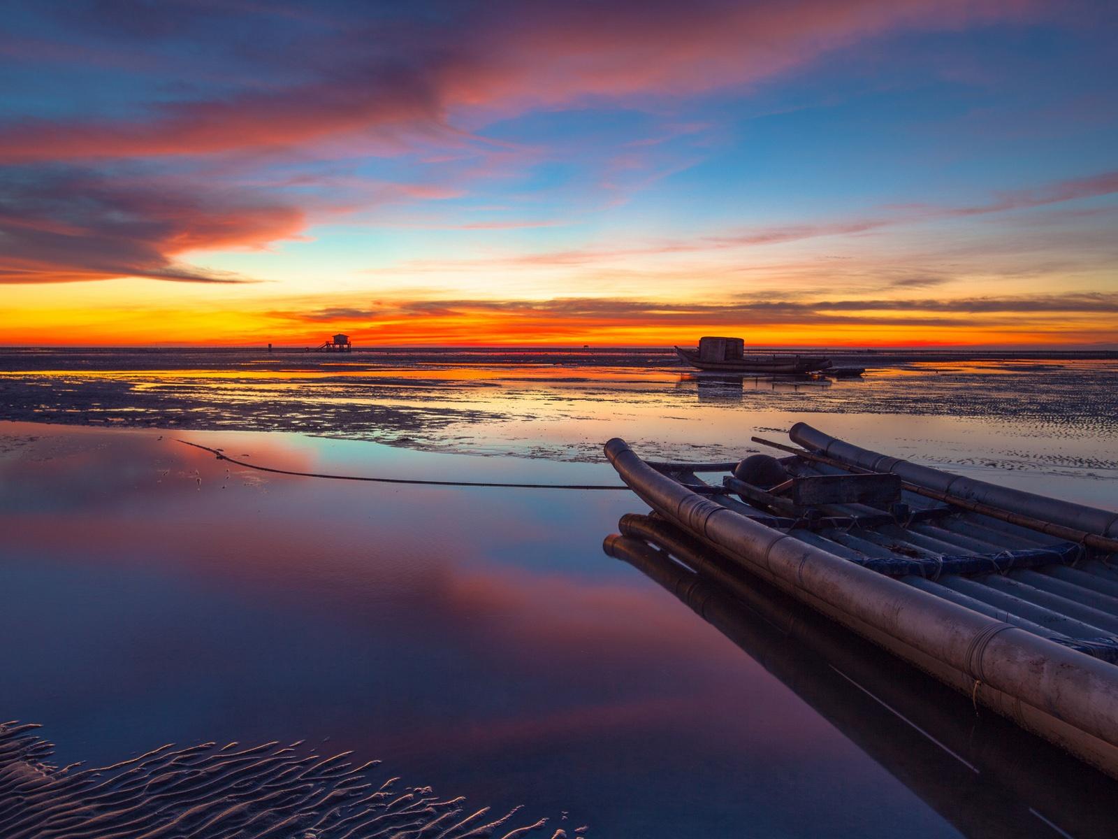 Wallpaper China, Taiwan Strait, Beautiful Evening Sunset