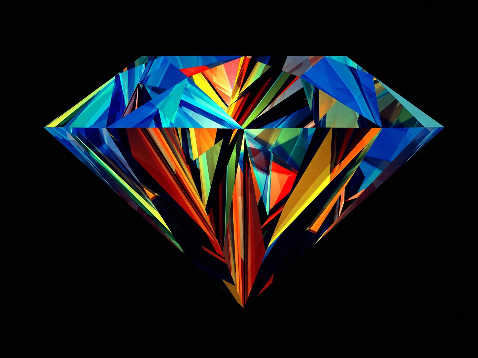钻石美丽的颜色,黑色的背景 桌布 - 1600x1200