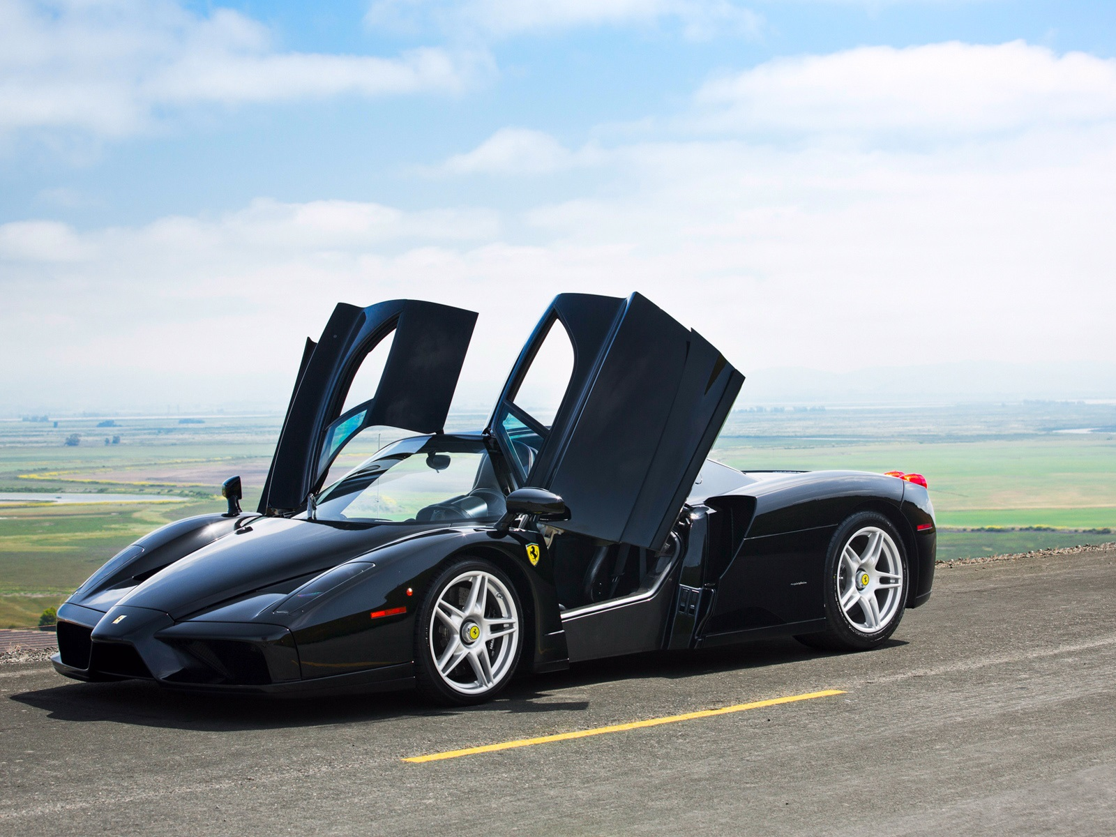 Wallpaper Ferrari Enzo Black Color Supercar Doors Opened 1920x1200 Hd Picture Image