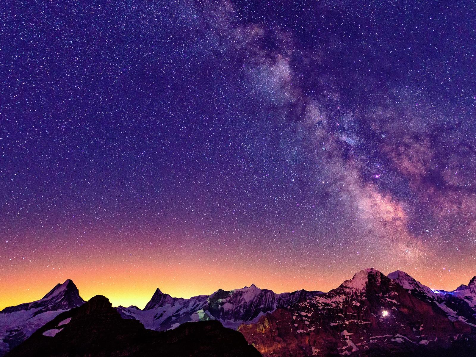 瑞士,阿爾卑斯山,美麗的夜晚,天空,星星 壁紙 ...