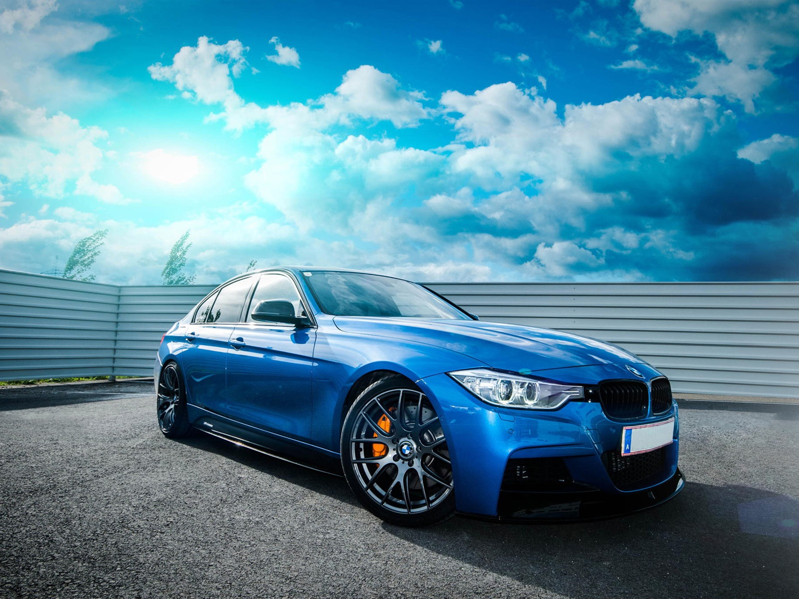 wallpaper bmw f30 335i blue car sky clouds 1920x1200 hd