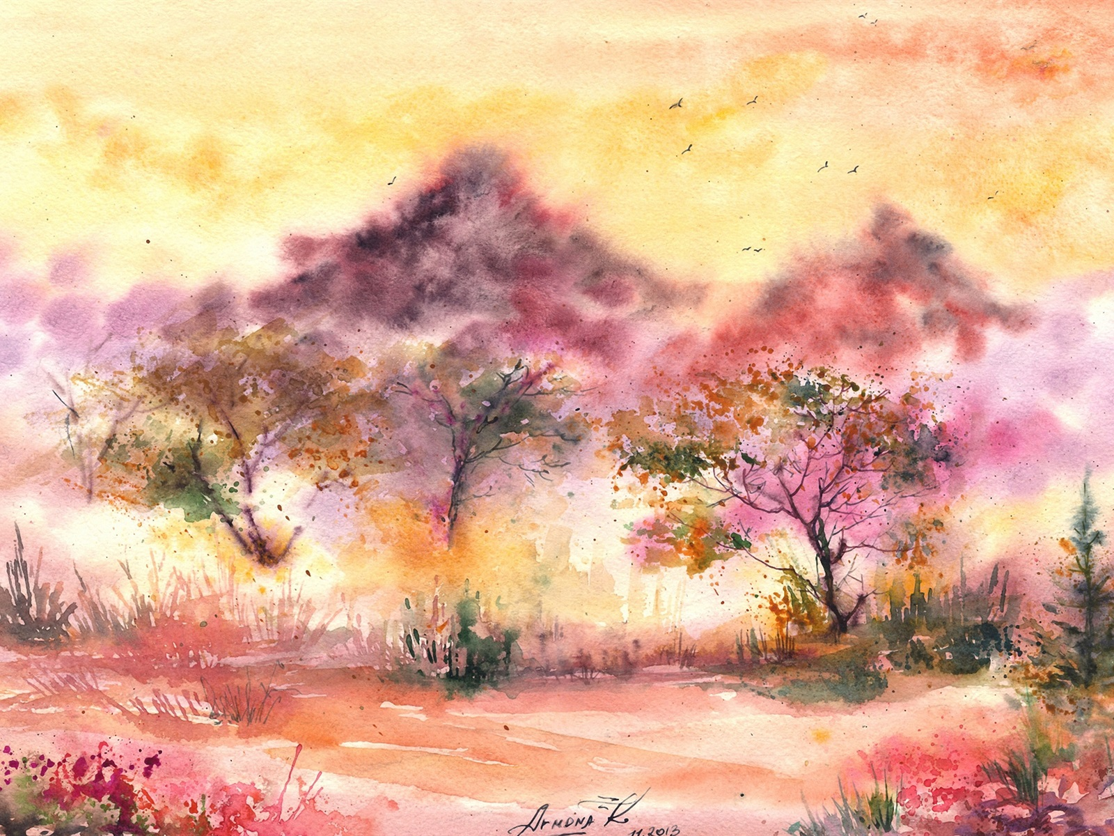 Download Wallpaper 1600x1200 Watercolor painting ...