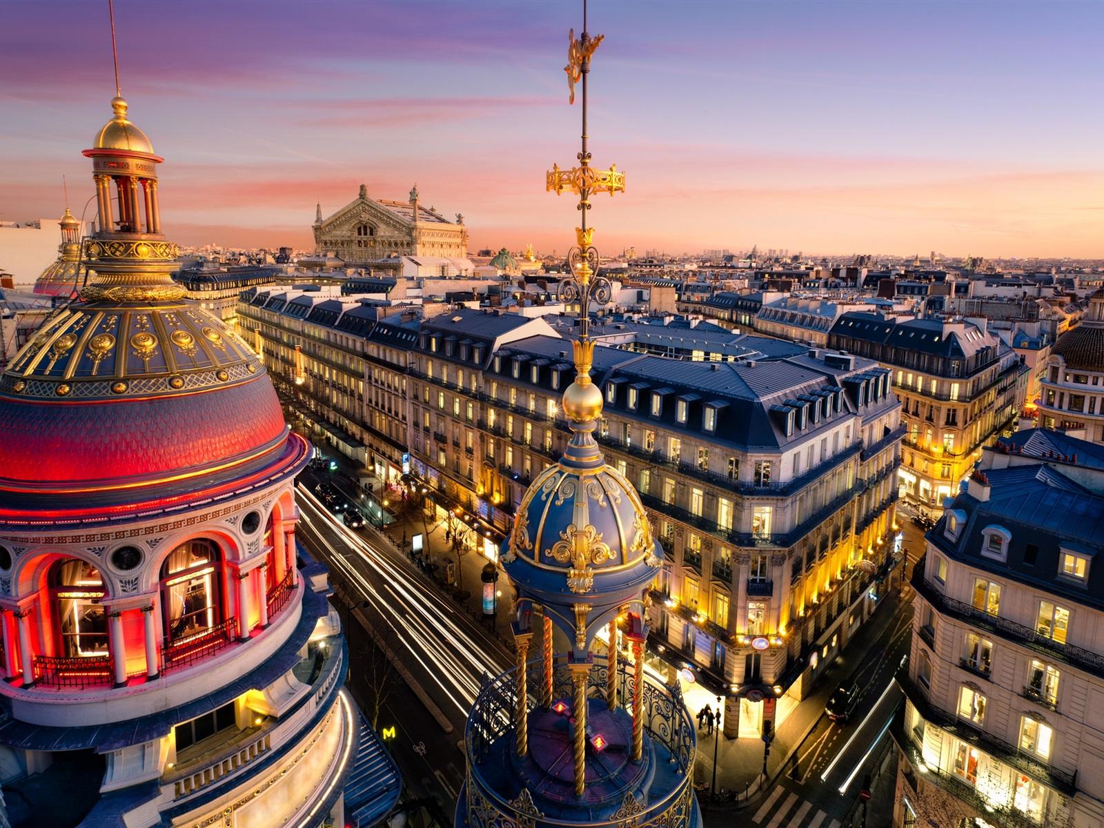 Paris frankreich der grand opera gebäude stadt lichter nacht