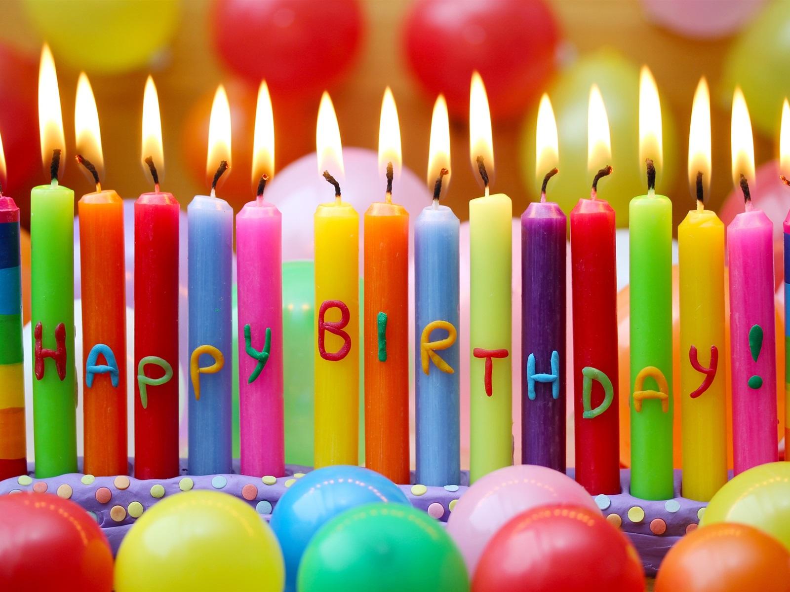 Feliz cumpleaños, velas de colores, globos Fondos de pantalla ...