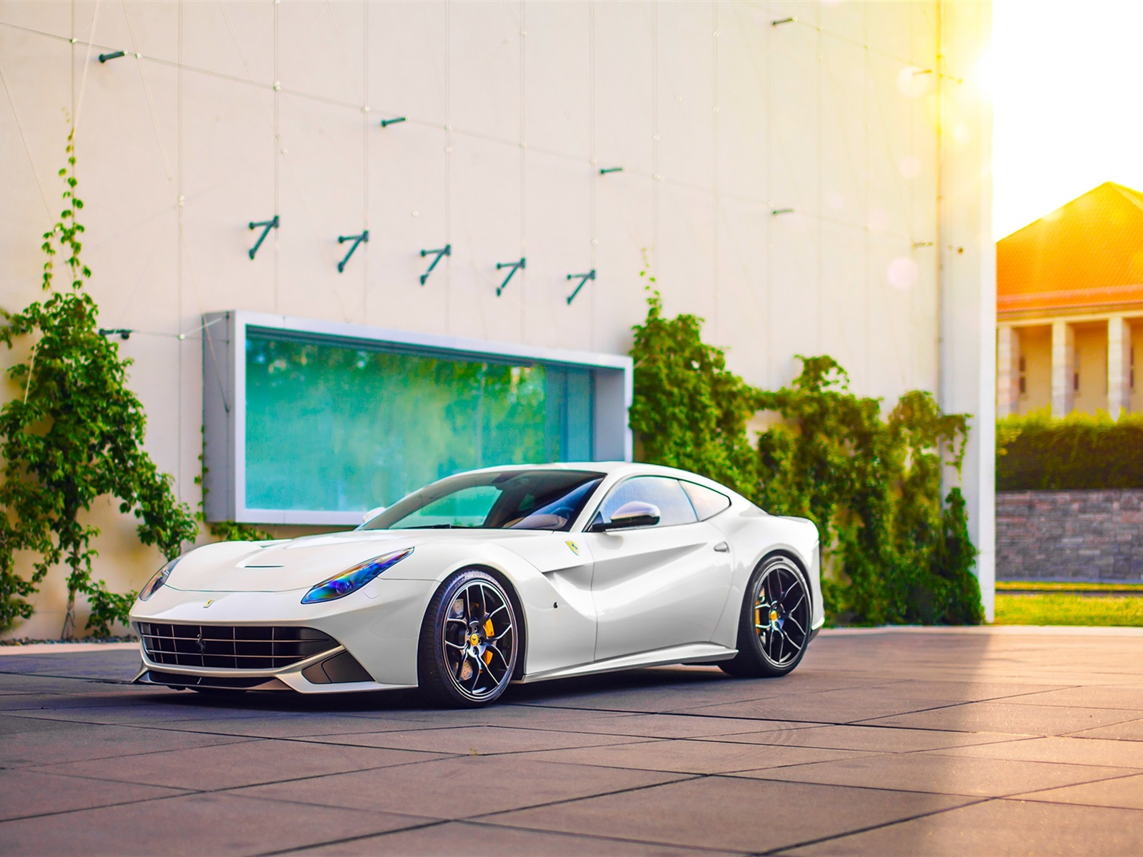 Wallpaper Ferrari F12 Berlinetta White Supercar Side View 1920x1200 Hd Picture Image