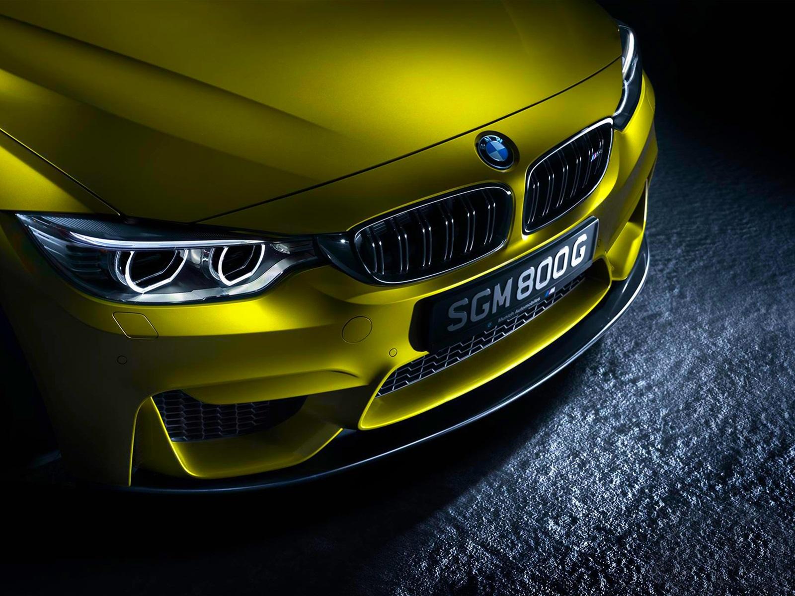 Deutsch Bmw M4 Gelbes Auto Vorderansicht Hintergrundbilder