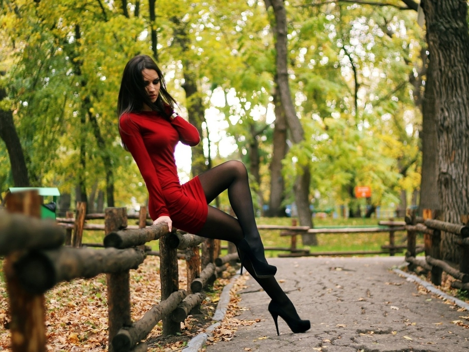Wallpaper Sexy Red Dress Girl, Stockings, Park, Trees -7628