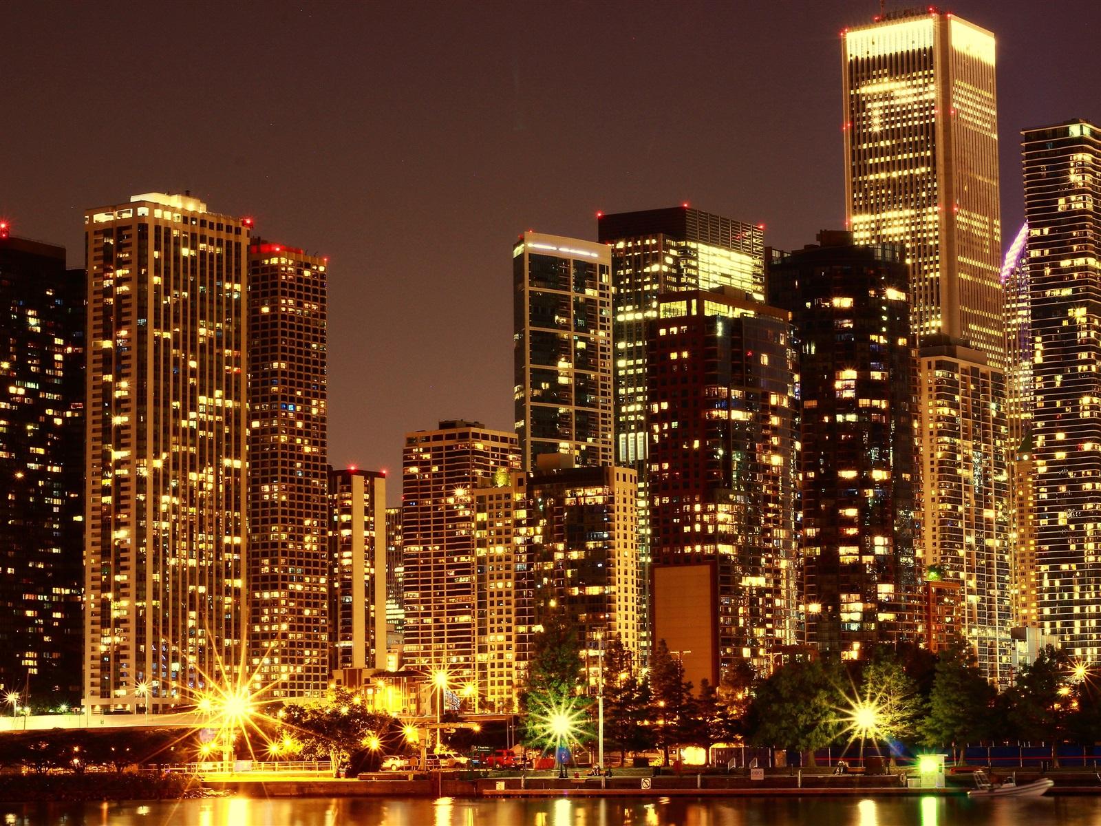 Обои фонари, ночь, люди, сша. Города foto 6