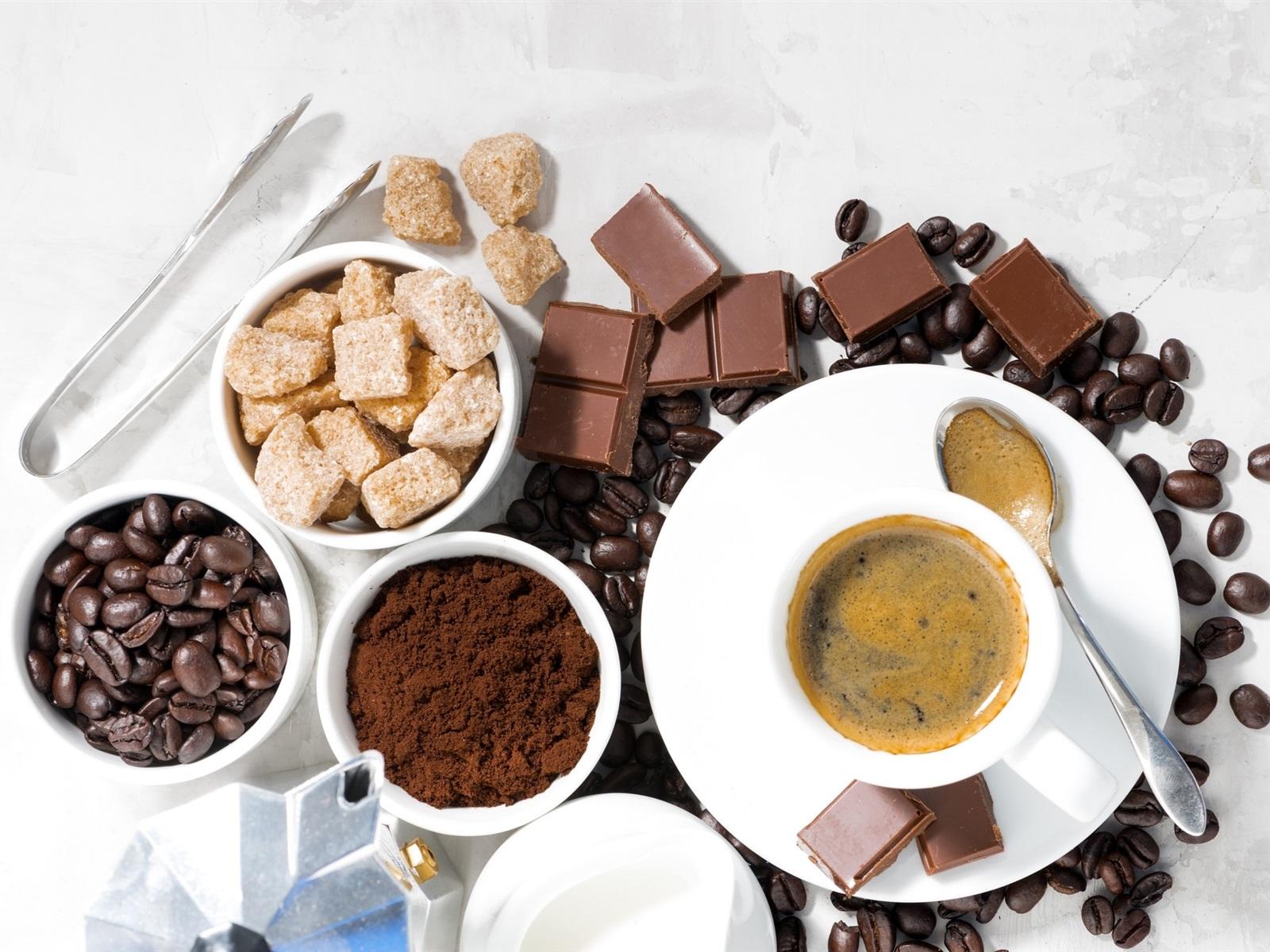 Wallpaper Coffee Beans Chocolate Sugar Cup 1920x1200 Hd