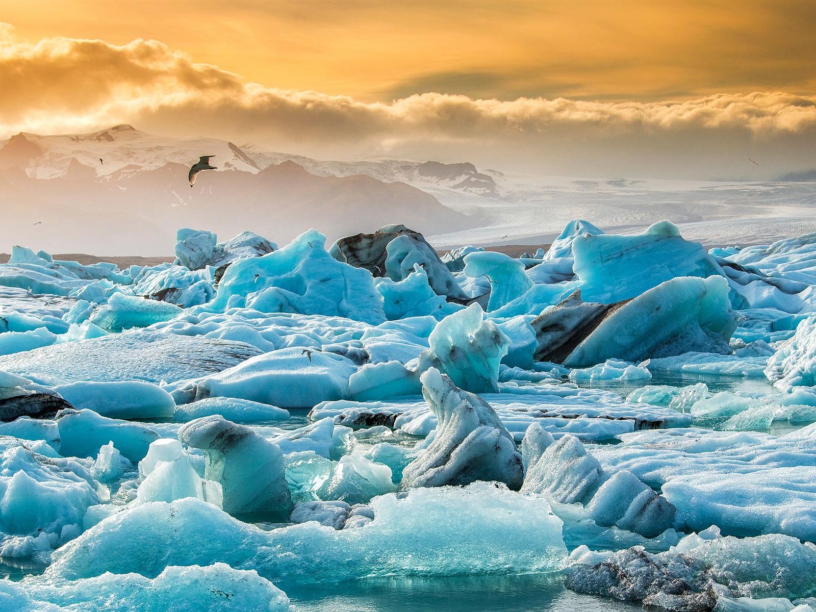 Wallpaper Iceland Jokulsarlon Glacier Blue Ice Clouds 1920x1200