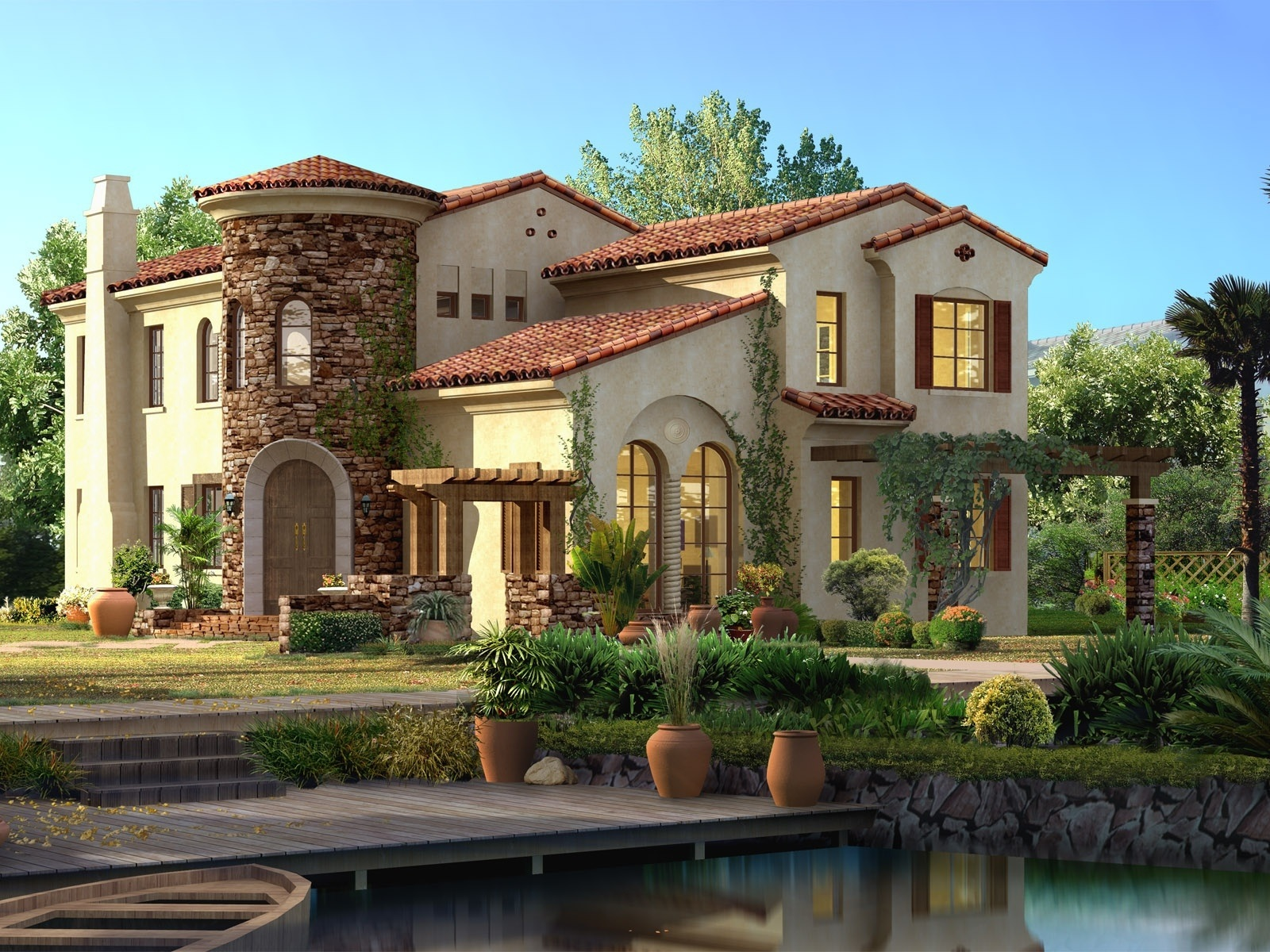 fonds d 39 cran conception 3d maisons arbres villa 1920x1200 hd image. Black Bedroom Furniture Sets. Home Design Ideas