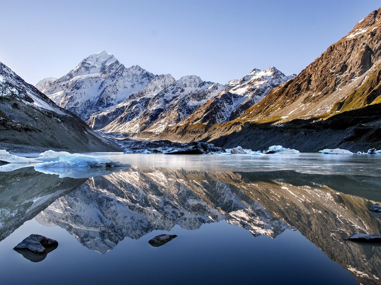 Montaña Nevada 1024x768: Fondos De Pantalla Lago, Montañas, Nieve, Agua De