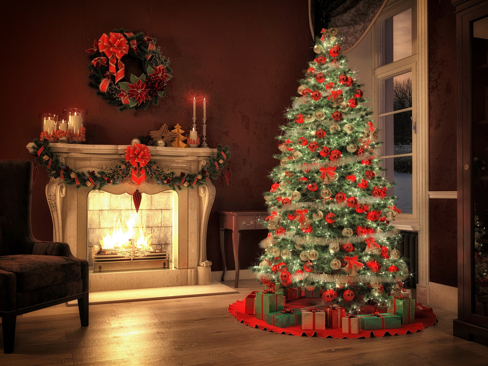 fondos de pantalla rbol de navidad chimenea decoraci n. Black Bedroom Furniture Sets. Home Design Ideas