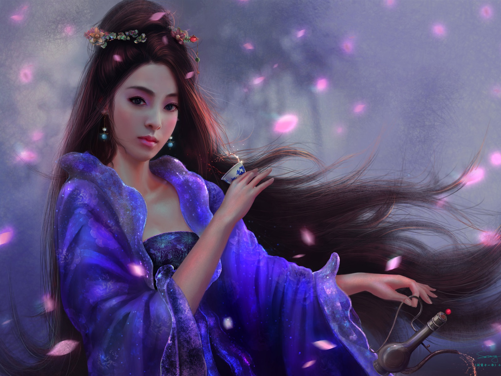 Wallpaper Beautiful Chinese Girl Retro Long Hair Art Picture 1920x1200 Hd Picture Image