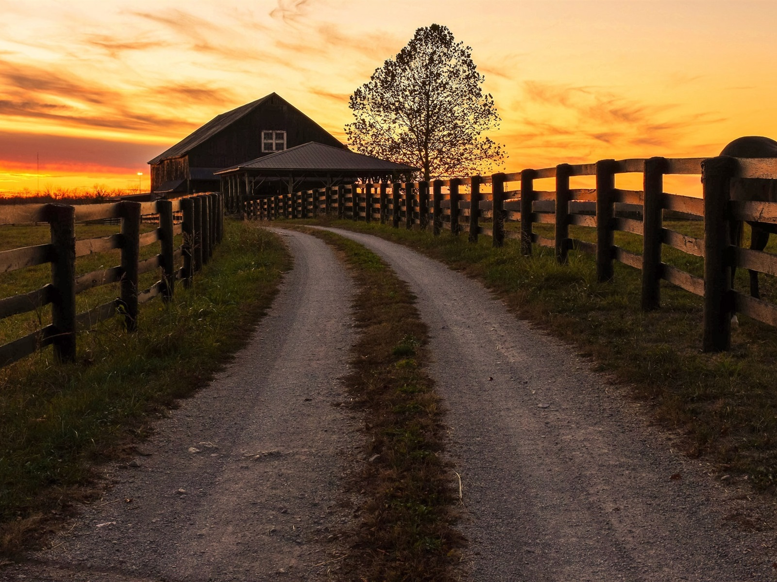 Wallpaper Road Fence Wood House Sunset 1920x1200 HD Picture Image