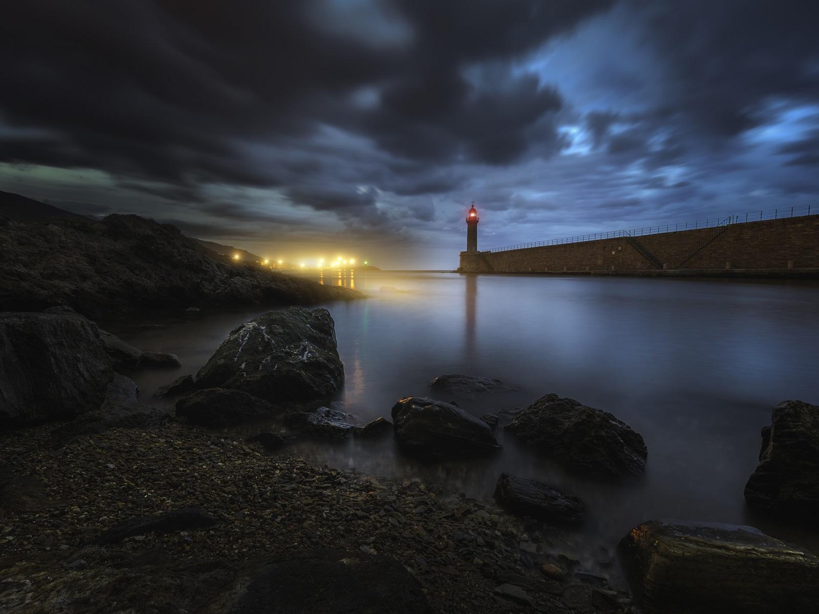 Bastia Corsica Lighthouse Stones Sea Night Lights