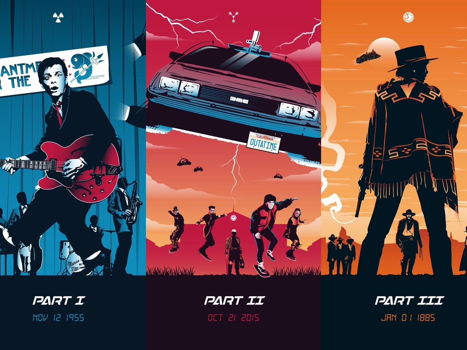Wallpaper Back To The Future Trilogy Art Picture 1920x1200 Hd