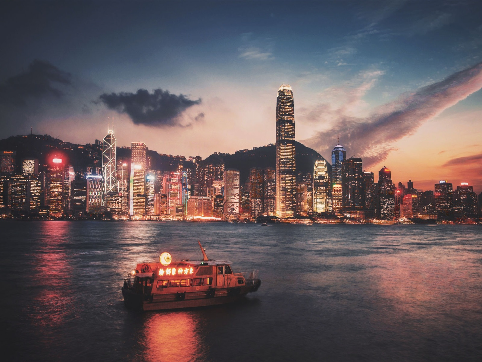 Hong Kong Victoria Port Skyscrapers Illumination Night