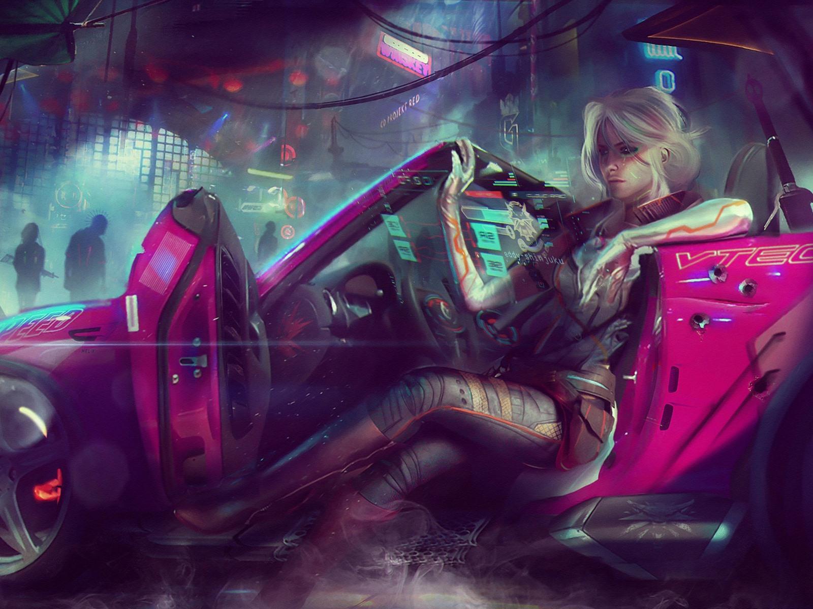 壁紙 サイバーパンク77 女の子 車 アート写真 19x10 Hd 無料のデスクトップの背景 画像