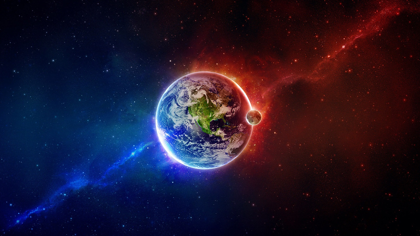 Earth And The Moon Wallpaper  1600x900 Resolution Download Best WallpaperNet