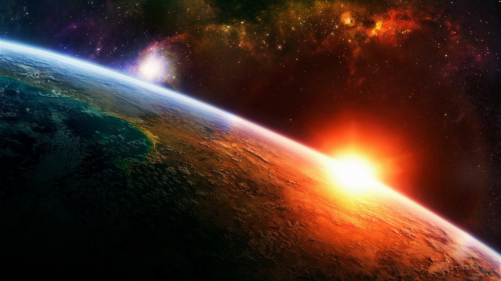 Sunrise Earth In Space Wallpaper 1600x900 Resolution