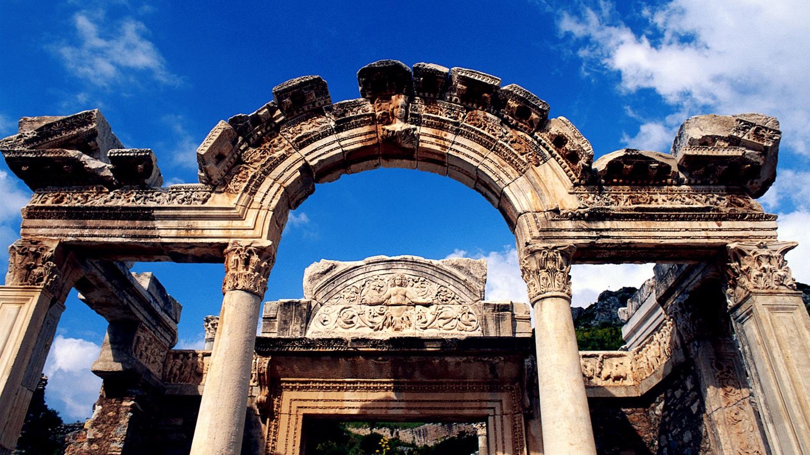 Temple of Hadrian in Turkey Wallpaper  1600x900 ...
