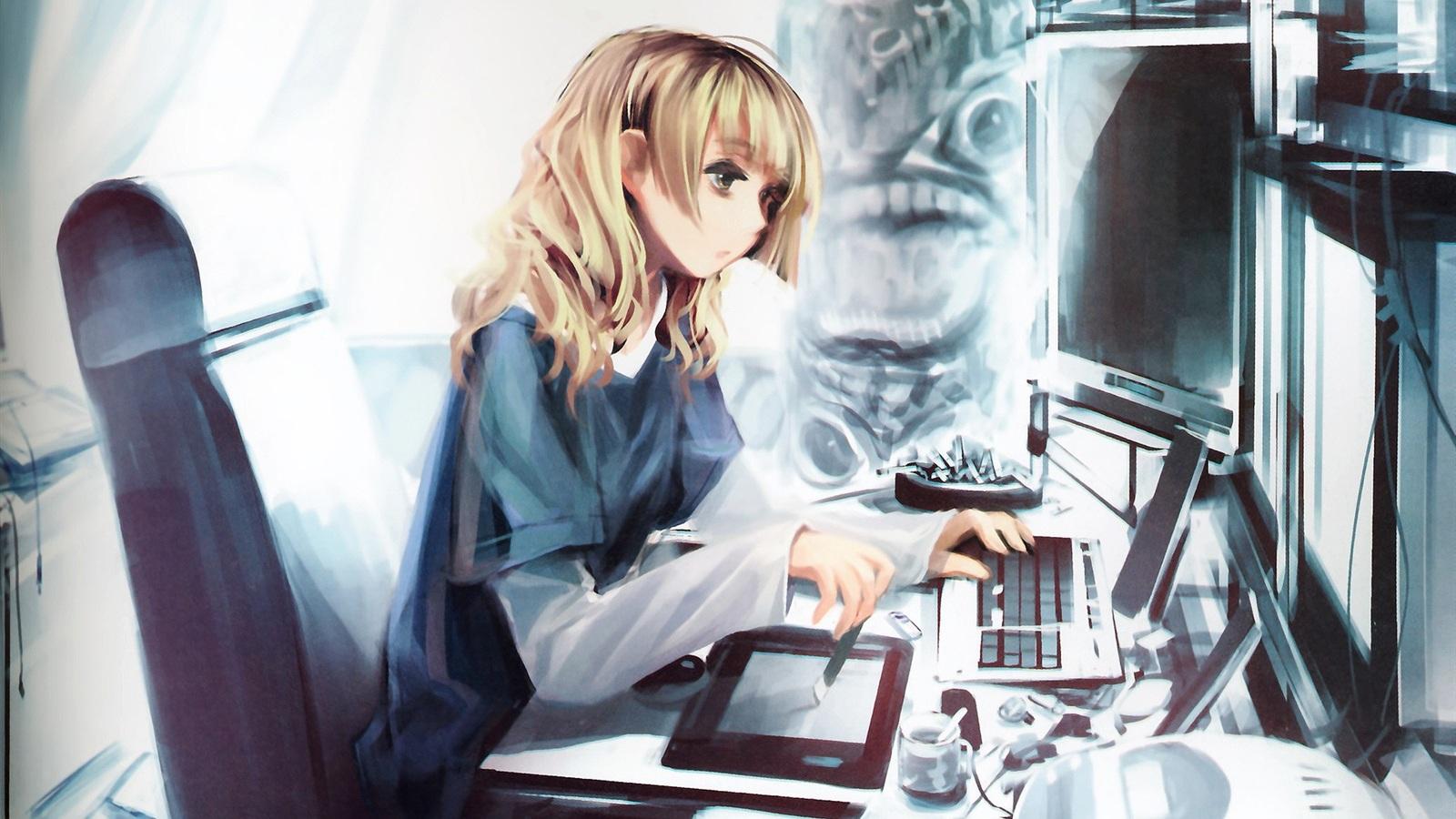 壁紙 コンピュータによるアニメの女の子 1920x1200 HD 無料のデスクトップの背景, 画像
