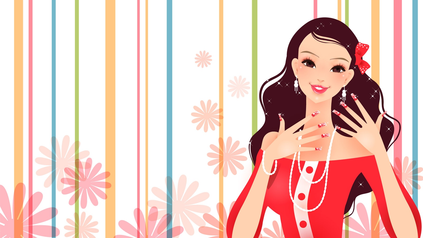 Gorgeous dress fashion girl vector wallpaper - 1600x900