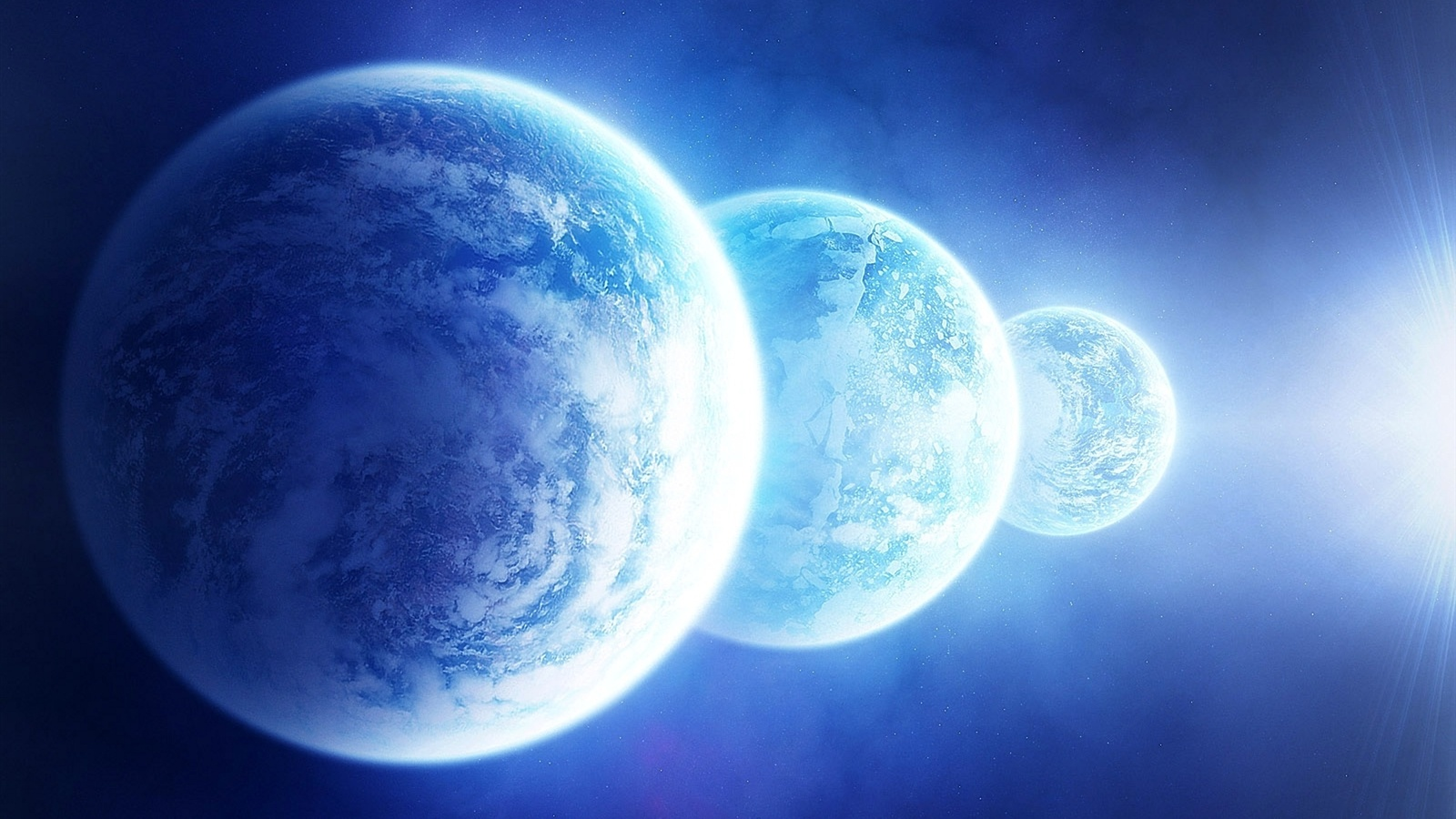 Three blue planet wallpaper - 1600x900