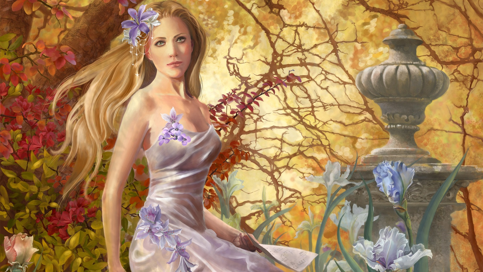 Fantasy girl in the park wallpaper - 1600x900