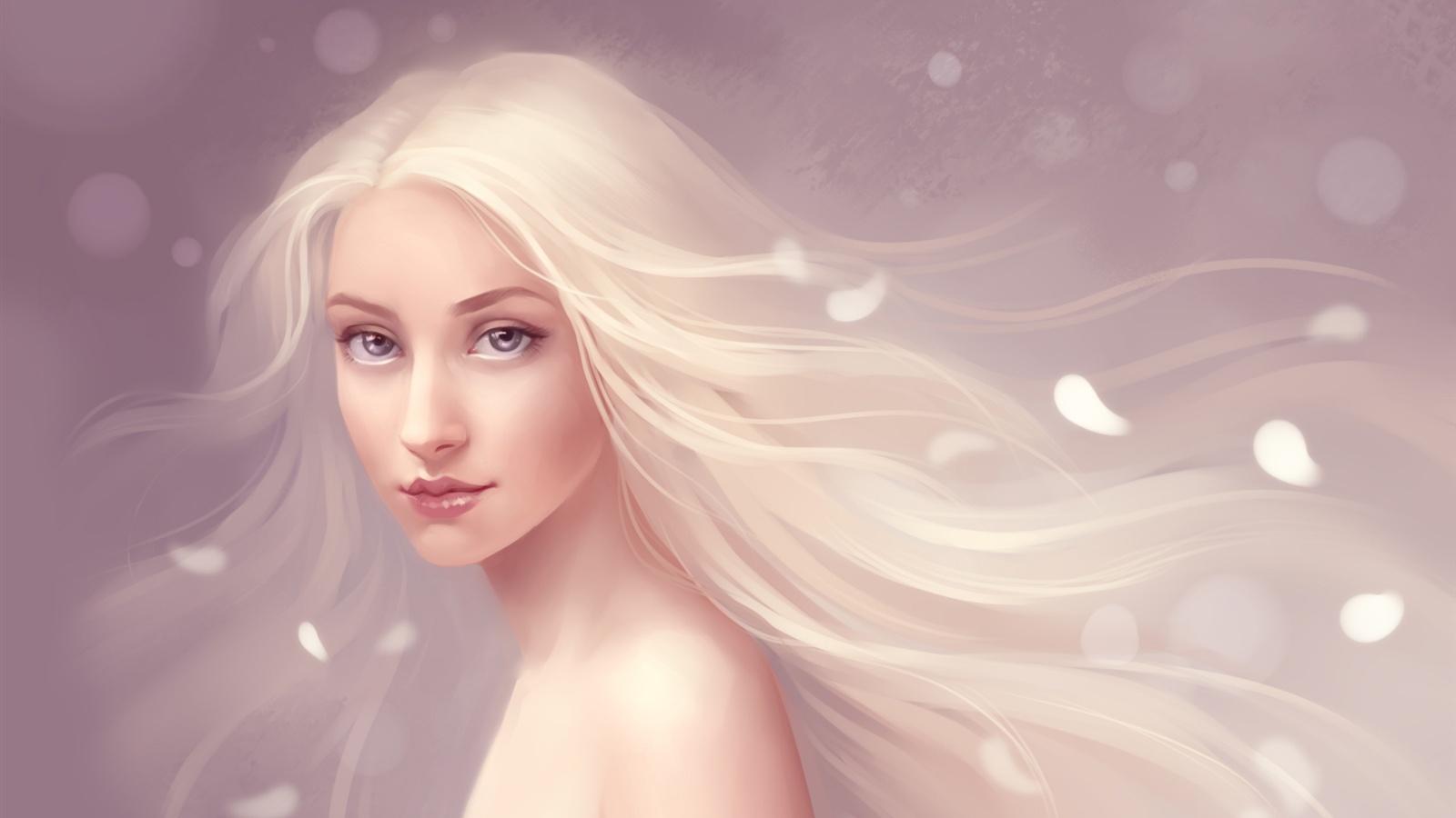 純粋なファンタジーの女の子の流れる髪 壁紙 - 1600x900   純粋なファンタジーの女の子