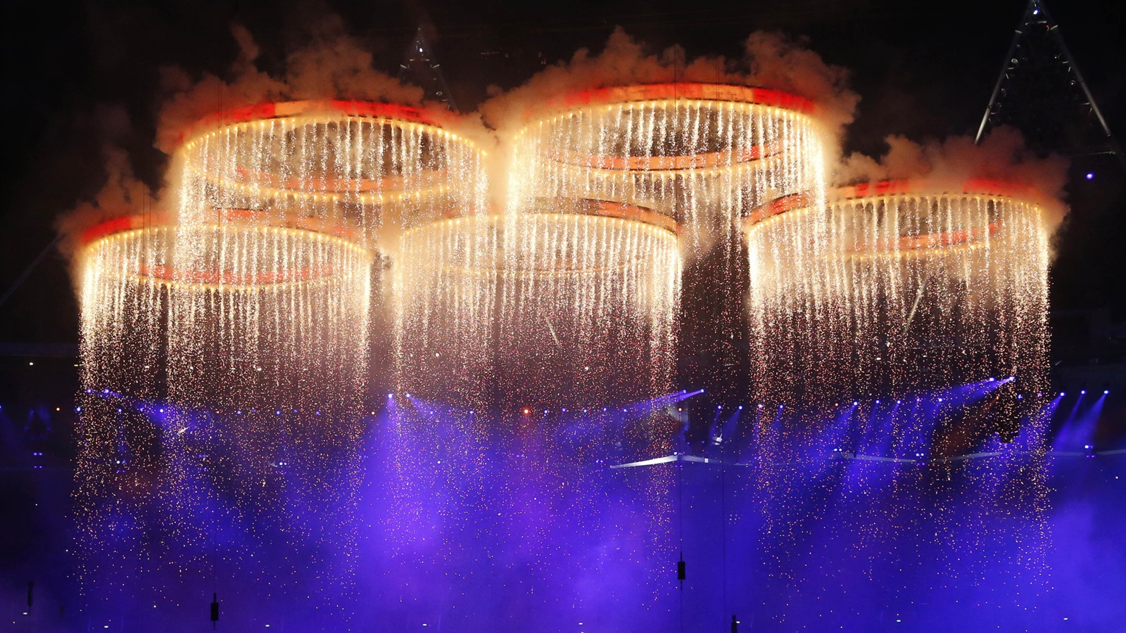 London Olympic Games opening ceremony, fireworks pentacyclic wallpaper - 1600x900