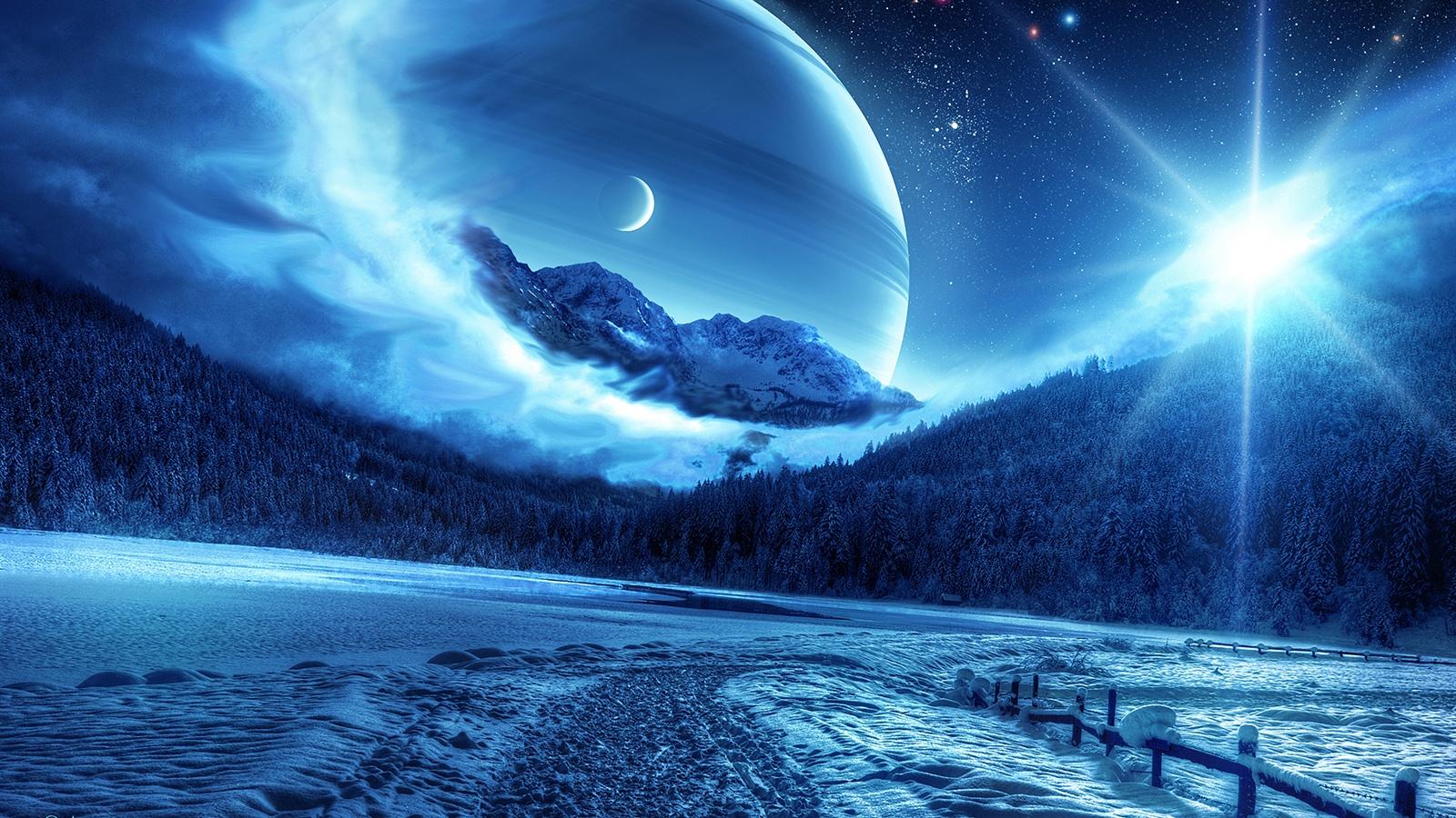 Лес зима планета космос обои 1600x900