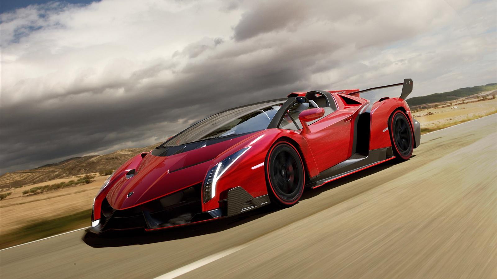 Wallpaper Red Lamborghini Veneno Roadster supercar in road ...