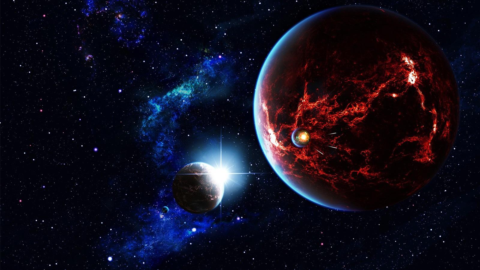 Space stars universe planet satellite nebula - Space wallpaper 1600x900 ...