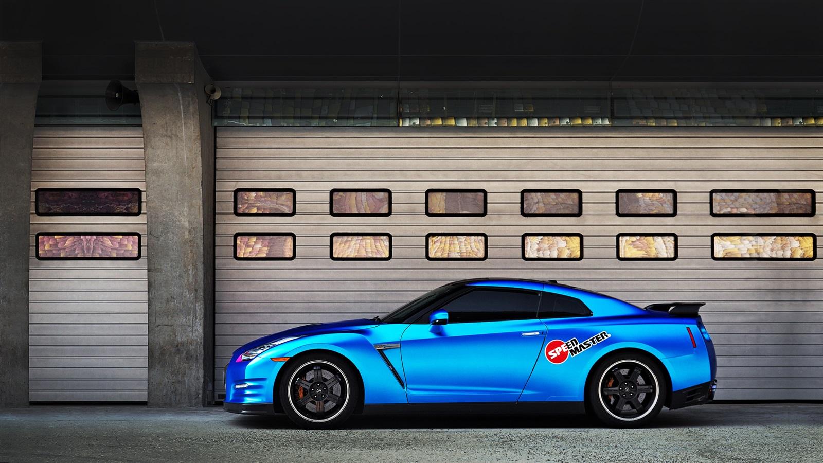 壁紙 日産GT-Rの青い車の側面図 1920x1080 Full HD 2K 無料のデスクトップの背景, 画像