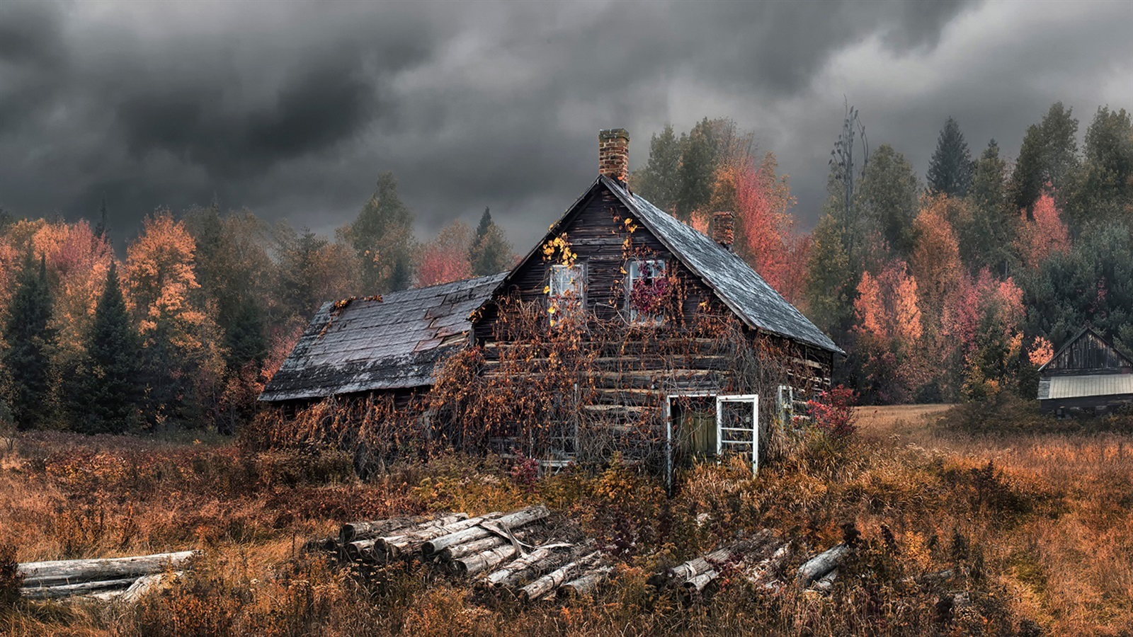Download wallpaper 1600x900 old house autumn forest hd for Classic house wallpaper