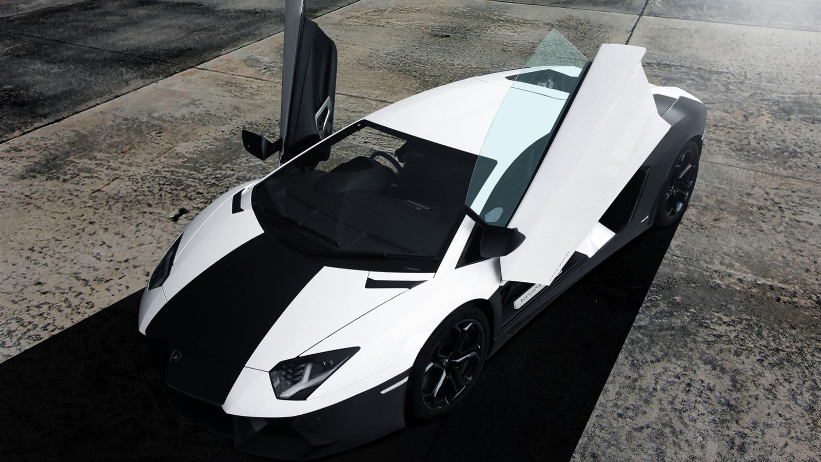 lamborghini aventador noir vue de dessus de supercar blanc fonds d 39 cran 1600x900 fonds d. Black Bedroom Furniture Sets. Home Design Ideas