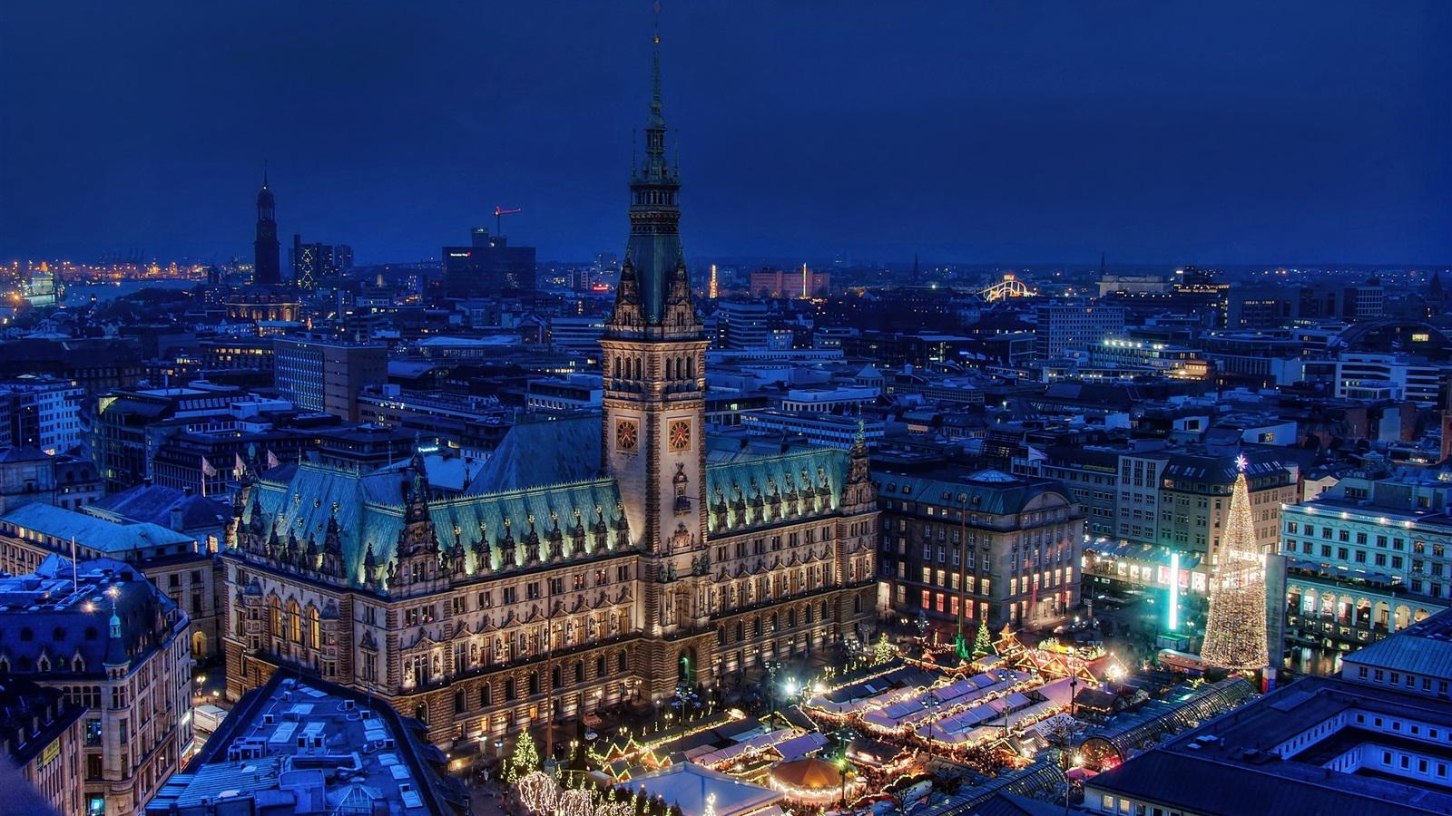 deutschland hamburg nacht skyline stadt haus lichter 2560x1600 hd hintergrundbilder hd bild. Black Bedroom Furniture Sets. Home Design Ideas