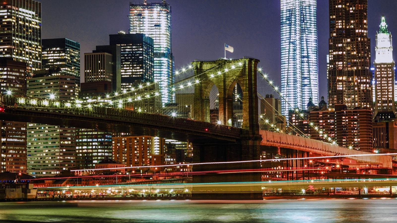 ... York, USA, city night, bridge, lights, buildings Wallpaper - 1600x900