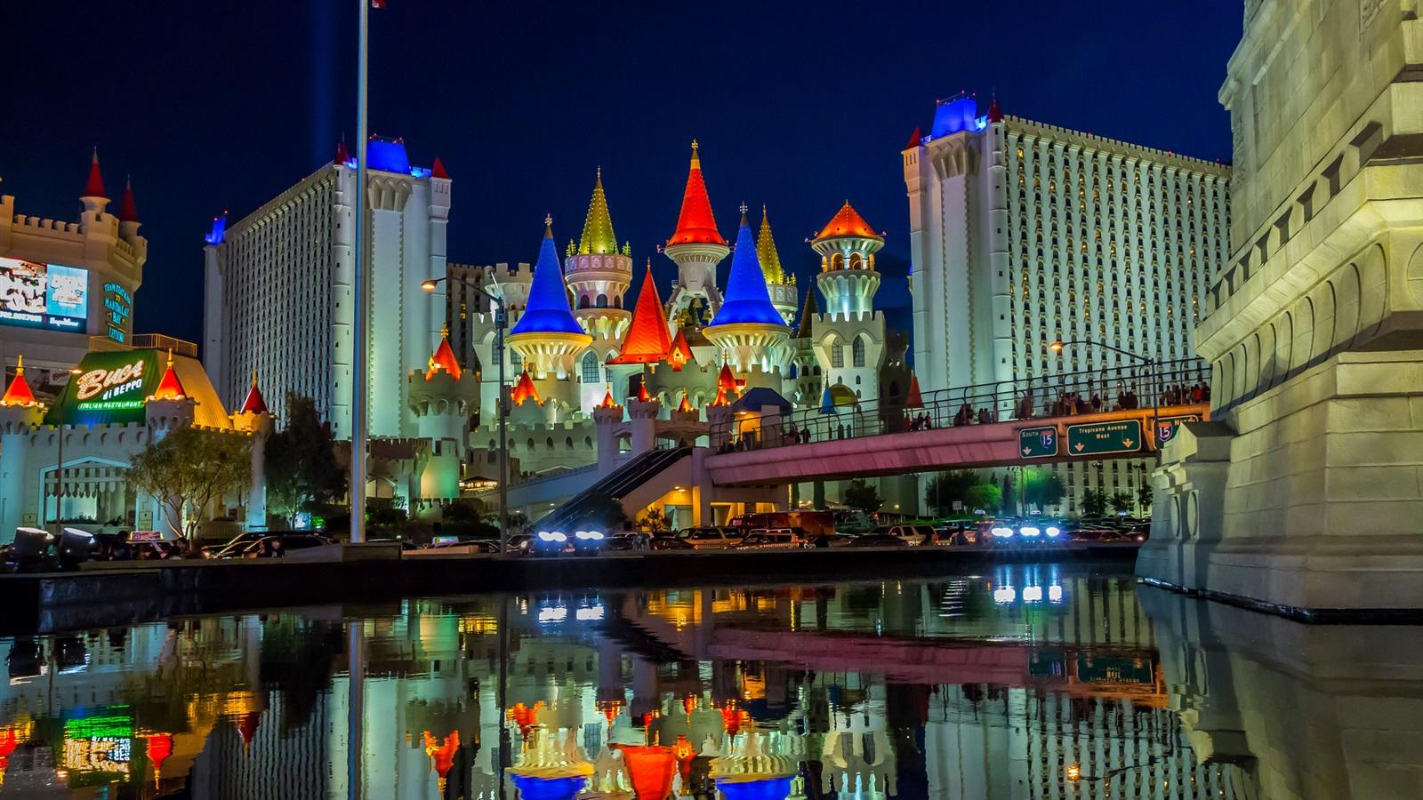 Wallpaper Las Vegas Nevada Usa City Night Castle