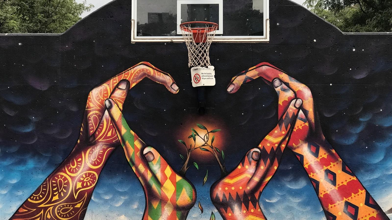Wallpaper Graffiti, Hands, Basketball Net, Creative