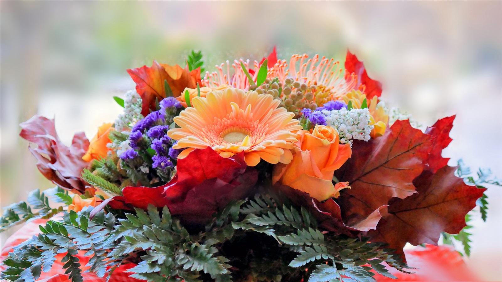 картинка букет осенних цветов принтами