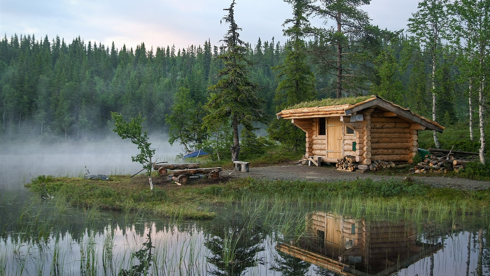 Wallpaper Norway Forest Trees Lake Hut Water