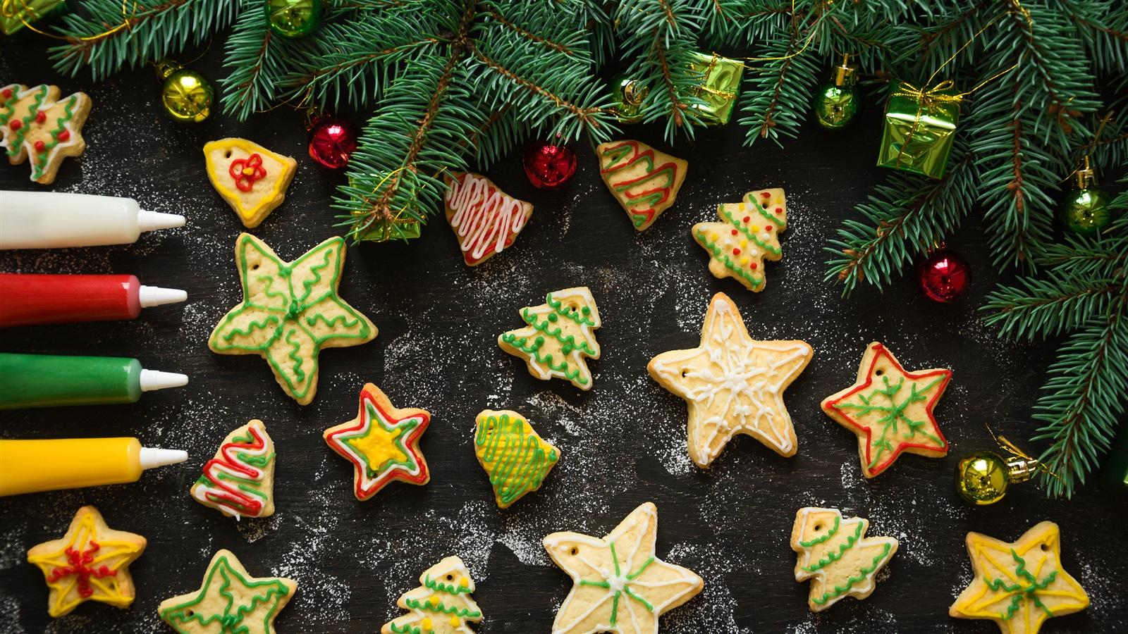 Fondos De Pantalla De Galletas: Navidad, Galletas, Estrellas, Ramas De Pino Fondos De