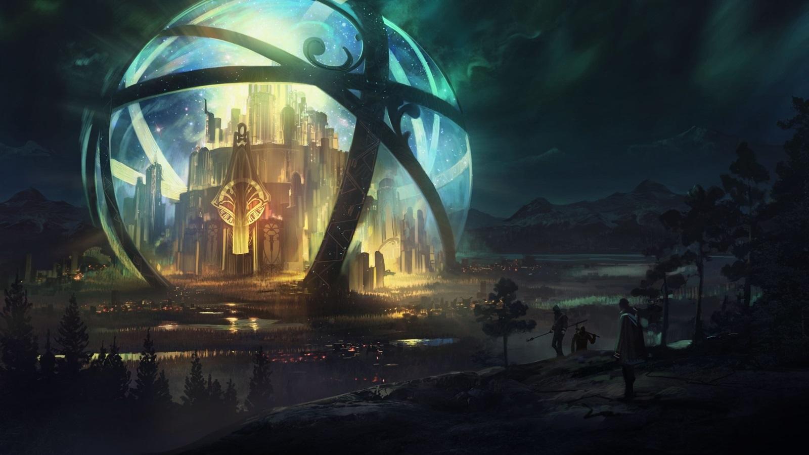 ファンタジーワールド 球体 城 美しい夜 640x960 Iphone 4 4s 壁紙