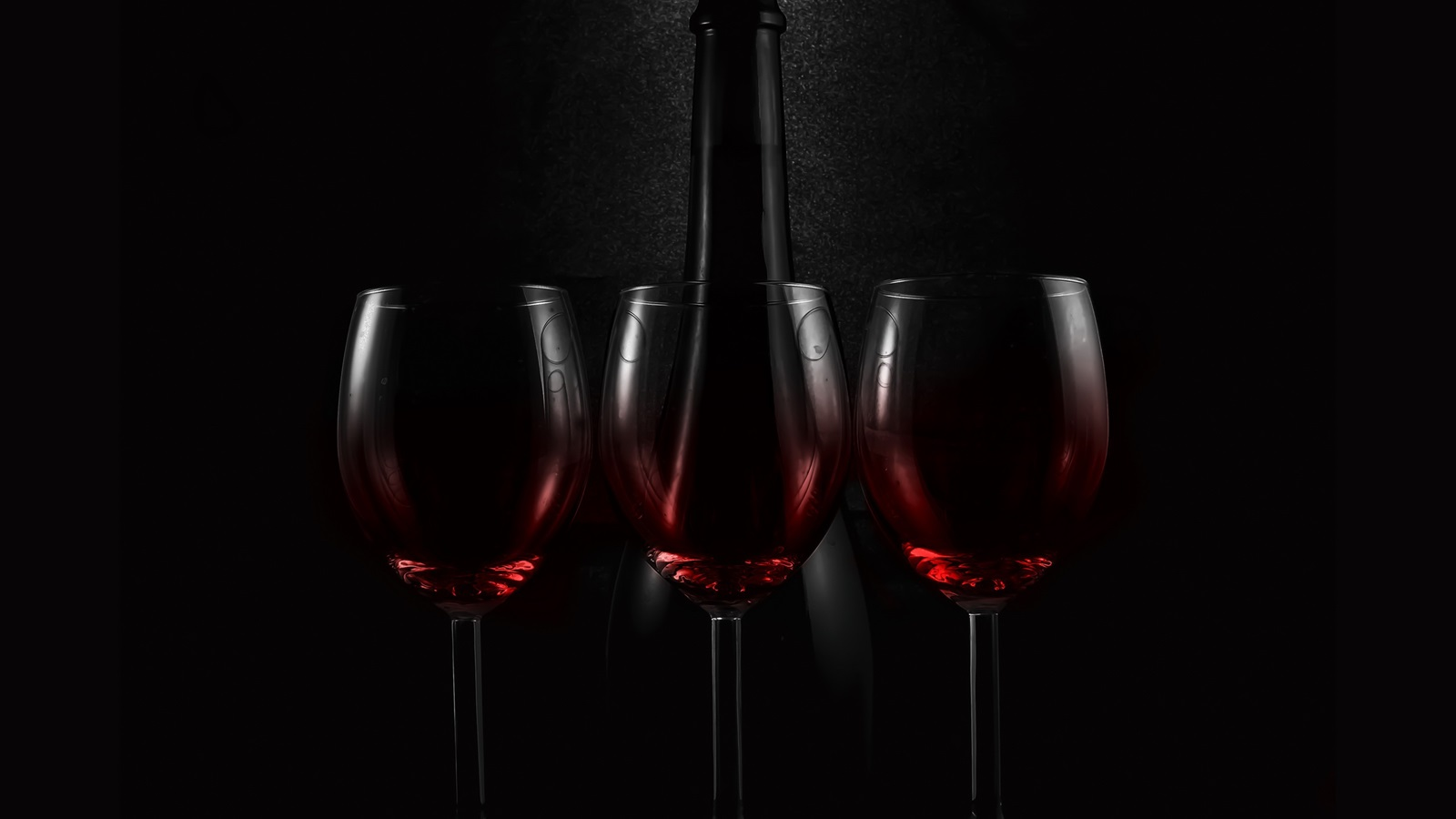 wallpaper three glass cups of wine bottle darkness