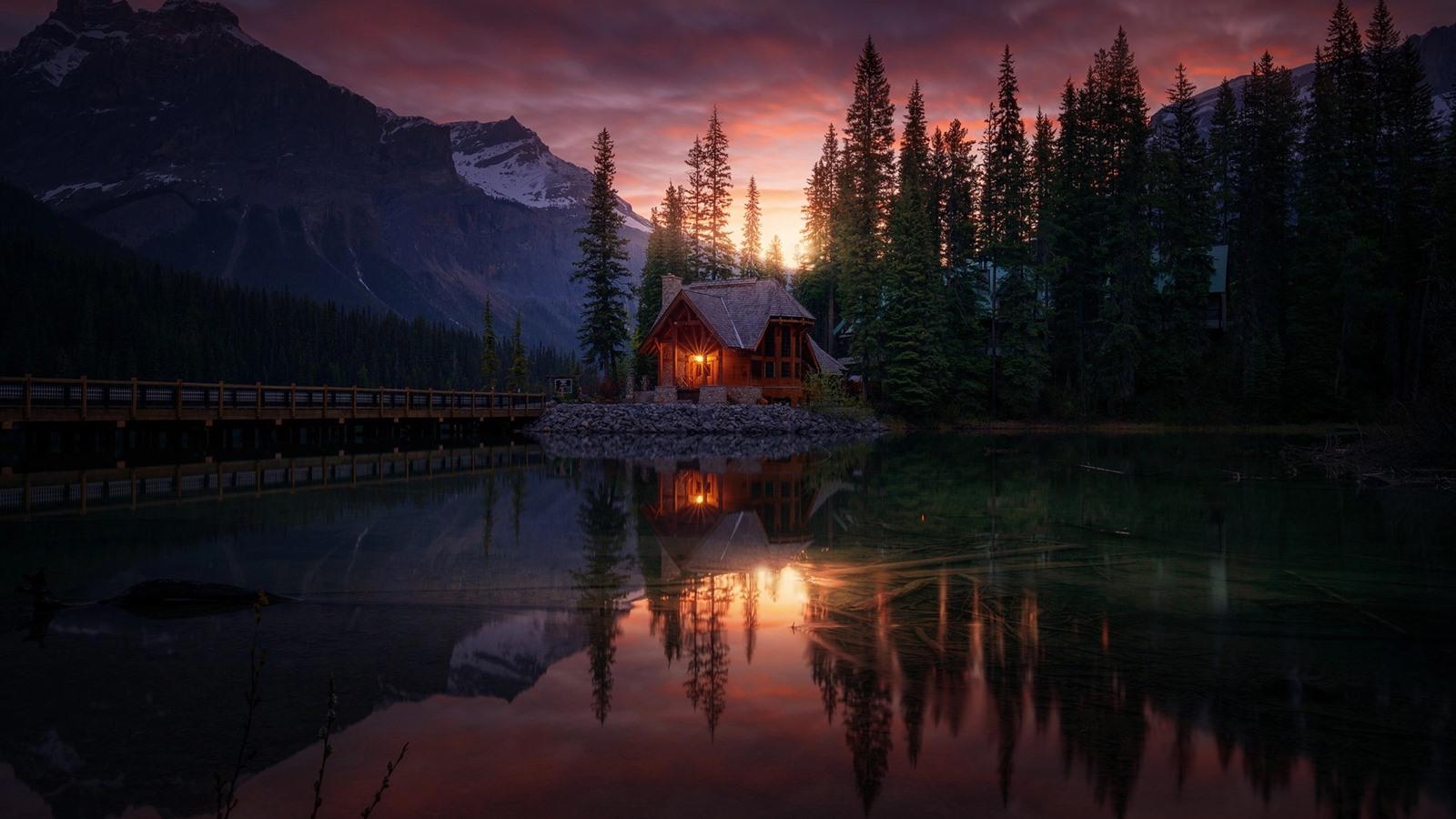 Forest Lake House Sunset Dusk 750x1334 Iphone 8 7 6 6s